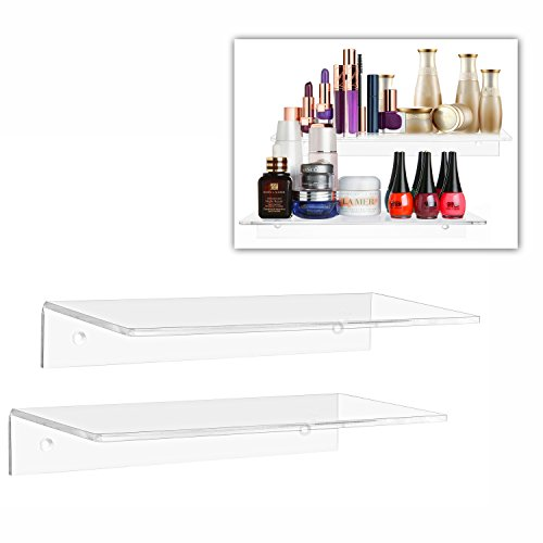 12 Inch Contemporary Clear Acrylic Floating Shelf / Wall Mounted Display Organizer, Set of 2