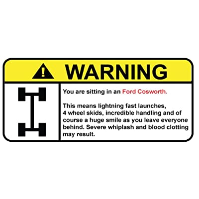 Amazon.com: Ford Cosworth 4x4 funny warning decal, sticker