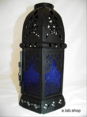 Moroccan Lantern Lamp Shade Pendant Light In Antique Black With Blue Glass A