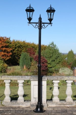 Garden Lighting - Traditional Double Headed Garden Lamp Post 2.1m