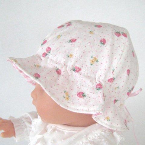 ベビー用 イチゴ柄お帽子 サイズ 40-44 調節ひも付き 62951ow