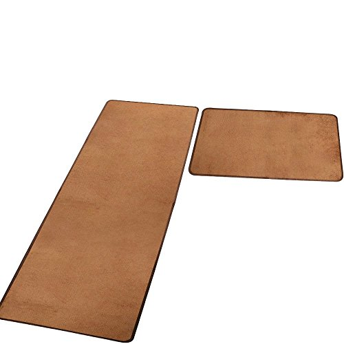 Yoler Kitchen Mat Non-slip Microfiber Flannel Area Rugs Entrance Mat Washable Rug Set of 2 Pieces (Brown)