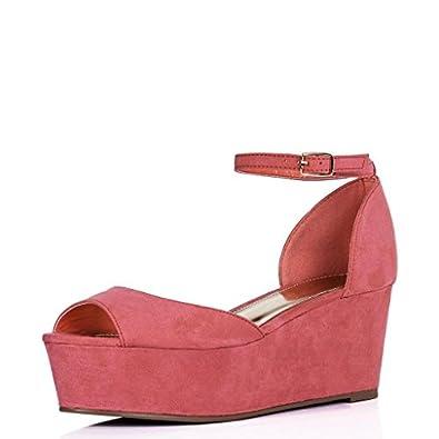 Flatform Platform Wedge Heel Peep Toe Pump Sandals Pink US Sz 10
