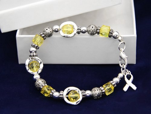 Yellow Ribbon Bracelet-Silver Circles w/ Yellow Beads (18 Bracelets)