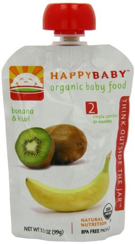 Happybaby Organic Baby Food Stage 2 Meals Ages 6+ Months Banana & Kiwi - 3.5 Oz, 6 Pack