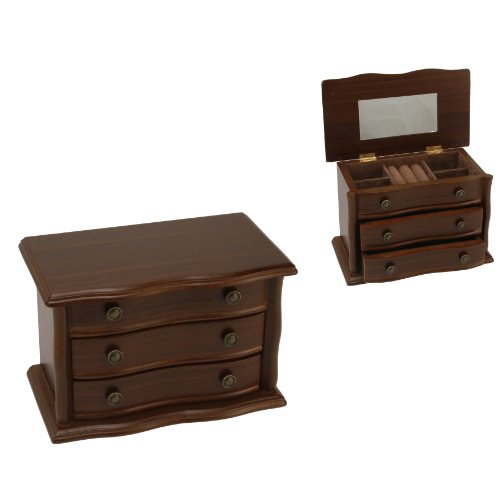 Sophia Wooden Jewellery Box With Velour Interior Ring Cushion & Drawers