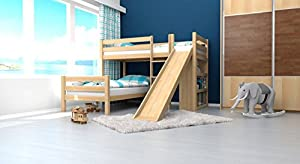 Bunk bed / Cabin bed Phillip solid, natural beech wood, includes slide, shelf and slatted frame - 90 x 200 cm