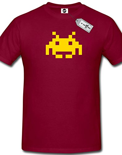 Space Invader Mens T-Shirt (M, Burgandy)