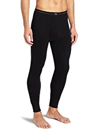 Duofold Men\'s Mid Weight Wicking Thermal Pant, Black, Large