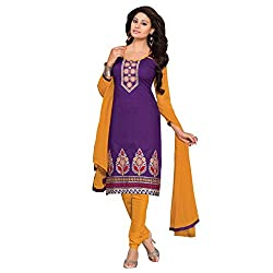 Beautiful Purple And Yellow Embroidery Dress Material