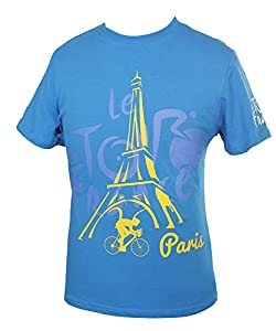 Tour de France Graphic Paris T-Shirt Homme Bleu FR : S (Taille Fabricant : S)