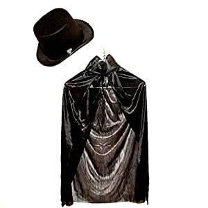 Dazzling Toys Children's Black Magician Cape with Magician Hat (D127)