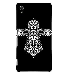 PrintVisa Tribal Art Cross Design 3D Hard Polycarbonate Designer Back Case Cover for Sony Xperia Z4