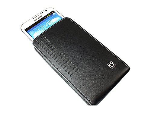 Cellet Bergamo Size 2 Medium Vertical Leather Case Pouch W/ Removable Belt Clip For Blackberry Q5 - Black