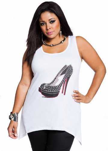 Ashley Stewart Women's Plus Size Studded Shoe Screen Tank