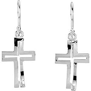 IceCarats Designer Jewelry Sterling Silver Crossfish Pair Earrings Pair 19.00X13.00 Mm
