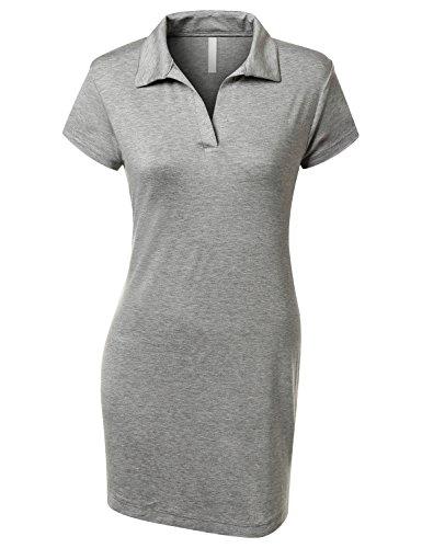 URBANCLEO Womens Classic Jersey Short Sleeve Polo Dress Shirt- HGREY LARGE