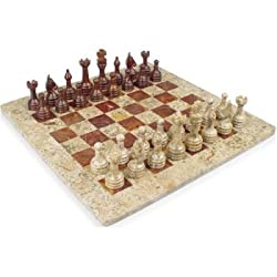 "16"" x 16"" Red Onyx & Fossil Marble chess set staunton free gift box"