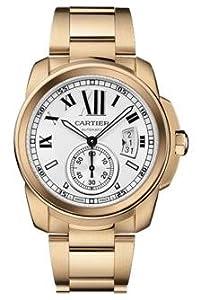 Cartier Calibre de Cartier Silver Dial 18K Rose Gold Automatic Mens Watch W7100018