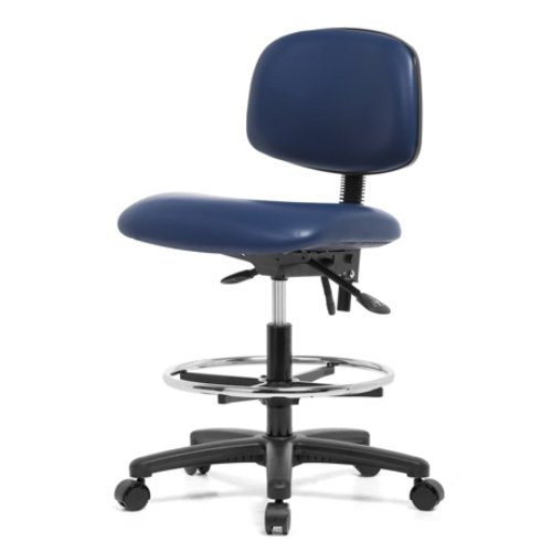 perch rolling lab chair with adjustable back support and footring for