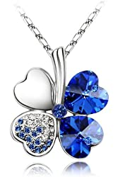 "Merdia Four Leaf Clover Heart-shaped Swarovski Elements Crystal Pendant Necklace 16"" + 2"" Extender"