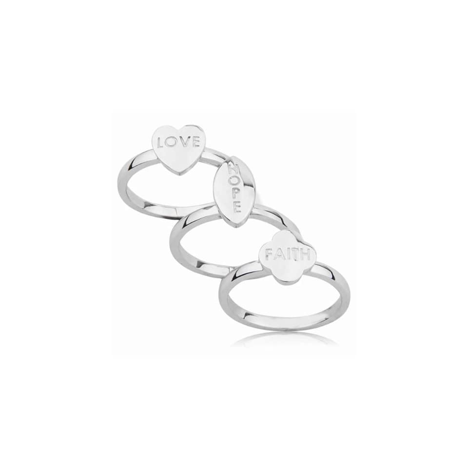 Sterling Silver Love, Hope and Faith Ring Set