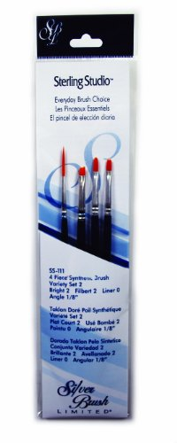 Silver Brush SS-111 Sterling Studio Golden Taklon Short Handle No.2 Detail Brush Set, 4 Per Pack