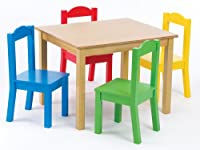 Tot Tutors Kids' Table and 4-Chair Set, Primary Wood from Tot Tutors
