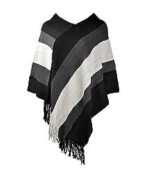 ZLYC Women Color Block Stripe Blanket Poncho Shawl Cape Wrap Scarf with Fringe, Black