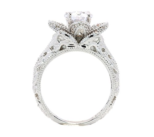 Hand Carved Vintage Inspired Blooming Rose Flower CZ Cubic Zirconia Engagement Ring Size 10