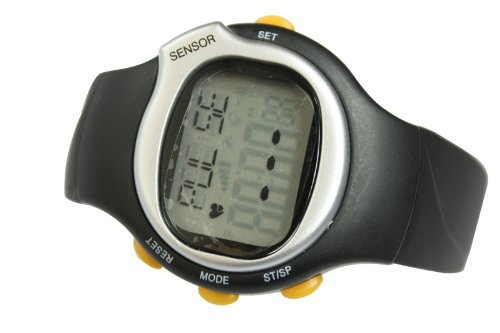 Pulse Rate Watch in Black with Heart Rate Monitor Calculate the Calories ECG Pulse Sensor