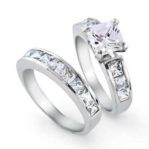 Bling Jewelry Sterling Silver Princess Cut Diamond CZ Engagement Wedding Ring Set