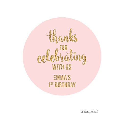Andaz Press Blush Pink Gold Glitter Girl's 1st Birthday Party Collection, Personalized Round Circle Label Stickers, Thank You for Celebrating With Us, 40-Pack, Custom Name (Personalized Party Stickers compare prices)