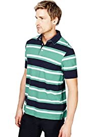 "2"" Longer Blue Harbour Pure Cotton Block Striped Polo Shirt"