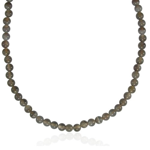 6mm Round Botswana Agate Bead Necklace, 30+2
