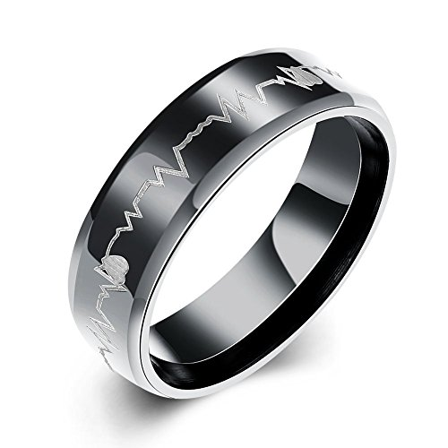 Eternity Love Men's Cardiogram Heartbeat Rings 6MM Black 316L Titanium Stainless Steel Engraving Laser Pattern Promise Wedding Rings Bands Beveled Edge High Polished Finish Comfort Fit Size, 10