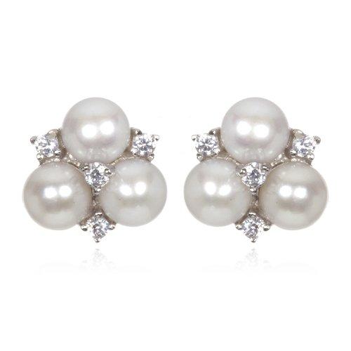 3 Button Pearl Stud Earring