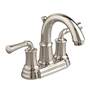 American Standard 7420.201.295 Portsmouth Centerset Lavatory Faucet with Speed Connect Drain with Lever Handles, Crescent Spout, Satin Nickel