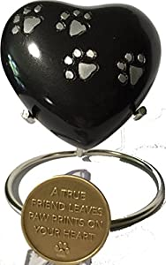 "Paw Print Heart Shaped 3"" Pet Keepsake Urn With Stand And Always Remembered Forever Loved Memorial Dog Medallion"