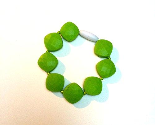 SillyMunk TM Silicone Teething Nursing Bracelets - Beaded (Green) - 1