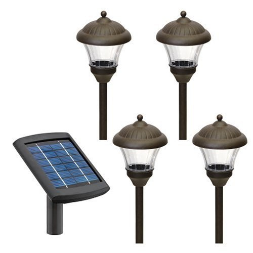 Buy Malibu 4-Pack Solar Metal Landscape Lights with Remote Panel, Two White LED's, Oil Rubbed Bronze #LZ501RP4