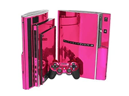 PlayStation 3 Skin (PS3) - NEW - PINK CHROME MIRROR system skins faceplate decal mod