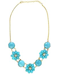 Shopatplaces Hathras Beads Necklace In Golden & Sky Blue
