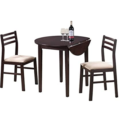 3-Piece Breakfast Dining Set, Cappuccino Table & Chairs - Space Saving Design