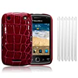 BLACKBERRY CURVE 9380 RED PU LEATHER CROCODILE SKIN HYBRID SNAP CASE / COVER / SHELL / SHIELD + 6-IN-1 SCREEN PROTECTOR PACK PART OF THE QUBITS ACCESSORIES RANGEby Qubits