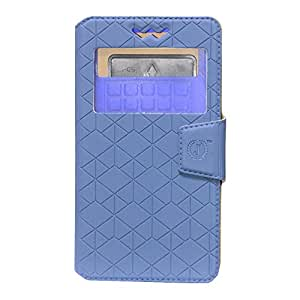 Jo Jo Cover Toto Series Leather Pouch Flip Case With Silicon Holder For Panasonic T21 Dark Blue