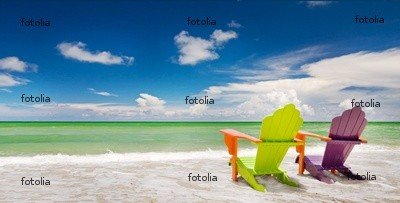 """Wallmonkeys Peel and Stick Wall Graphic - Colorful Chairs at a Trpoical Beach in Miami Florida - 36""""W x 18""""H"""