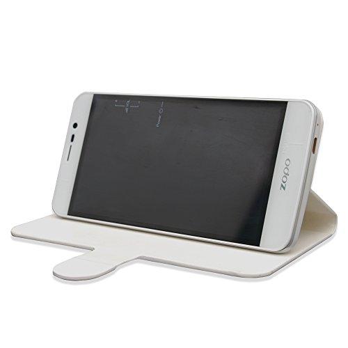 Prevoa ® ?ZOPO Speed 7 Hülle - Flip PU Hülle Case Schutzhülle Tasche für ZOPO Speed 7 4G 3G 5 Zoll Android 5.1 IPS-Schirm Smartphone - (Weiß)