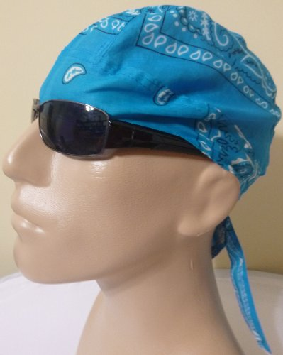 Skull Cap BRIGHT BLUE/ Aqua/ Aquamarine Blue Paisley Head Wrap Headwrap AKA Bikers Cap, DuRag, Doo Rag, Wrap Bandana, Bandanna 100% Lightweight Cotton Easy to Use Under Baseball Caps, Motorcycle or Football Helmets, Running, Jogging, Exercising, Gardening, Cleaning to Keep Hair Out of the Face and Absorb Sweat or For Natural Balding or Use During Chemo Cancer Treatments