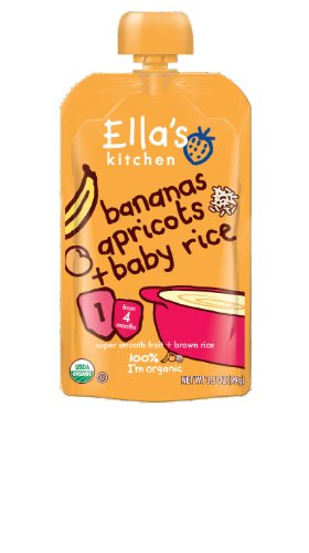 Ella's Kitchen, Banana Apricot and Baby Rice, 3.5 Ounce (Pack of 7)